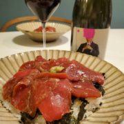 まぐろの漬け丼と赤ワインのペアリング