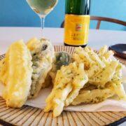 ズッキーニの天ぷら、じゃがいもの天ぷらとワインのペアリング