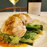鶏むね肉もしっとり柔らか『ゆで鶏』とワインのペアリング 茹で野菜に簡単ねぎダレ